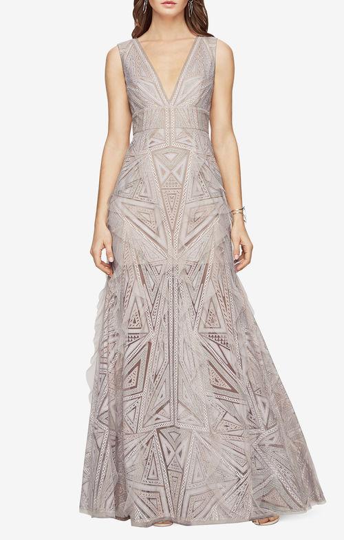 bcbg lace print gown
